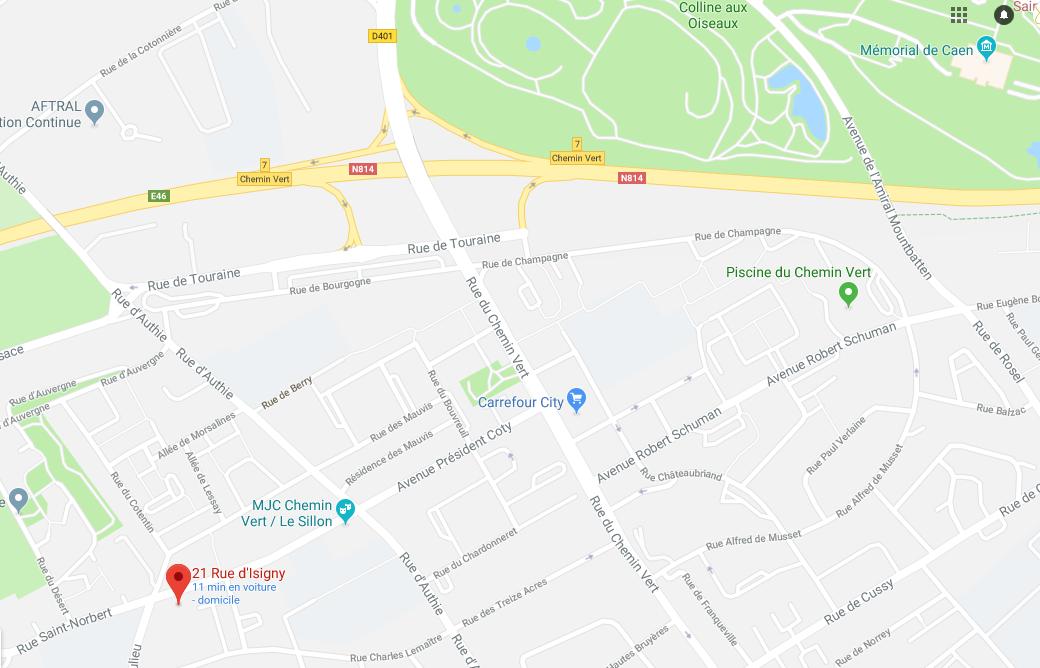 Plan 21 rue d'Isigny 14000 Caen